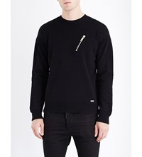 Dsquared2 Zip Detailed Waffle Knit Wool Jumper Black