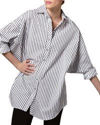 Go Silk Striped Big Shirt Petite White Black