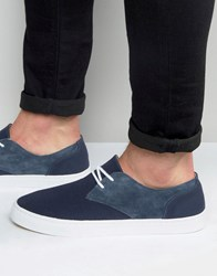 Pointer Chester Plimsoll In Canvas And Suede Blue