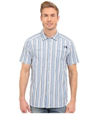 The North Face Short Sleeve Traverse Plaid Shirt Cosmic Blue Faded Denim Plaid Men's Short Sleeve Button Up