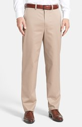 Nordstrom Men's Big And Tall Men's Shop 'Classic' Smartcare Tm Relaxed Fit Flat Front Cotton Pants Tan