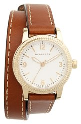 Burberry Women's 'Utilitarian' Round Leather Wrap Watch 30Mm