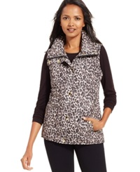 Style And Co. Sport Leopard Print Zip Front Vest Only At Macy's