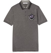 Givenchy Slim Fit Embroidered Cotton Pique Polo Shirt Gray