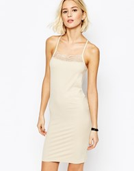 Selected Celena Seamless Slip Dress In Nude Cement