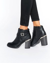 New Look Cross Strap Heel Ankle Boots Black
