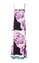 Warm Hothouse Sleeveless Maxi Dress Purple White Black