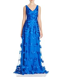 David Meister Embroidered Overlay Gown Blue