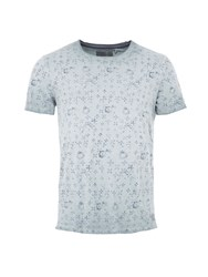 Garcia Mens Leaf Print Cotton T Shirt Blue Marl