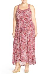 Lucky Brand Plus Size Women's Paisley Print Racerback Maxi Dress