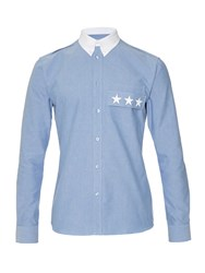 Givenchy Contrast Collar Button Cuff Cotton Shirt