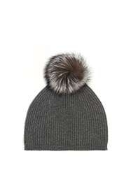 Max Mara Cashmere And Wool Blend Beanie Hat Grey