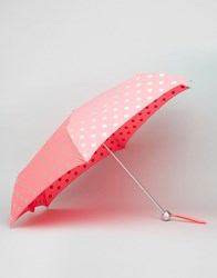 Cath Kidston Minilite Umbrella In Button Spot Print Neon Pink