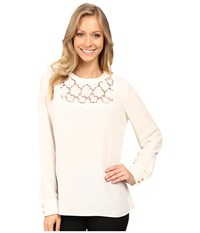 Vince Camuto Long Sleeve Blouse With Embroidered Lace Yoke Antique White Women's Blouse