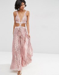 Asos Pink Snake Print Pleated Maxi Beach Dress Pink Scale Multi
