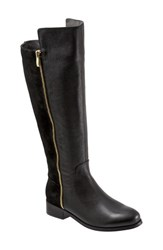 Women's Trotters 'Larule' Tall Boot Black Leather Suede Wide Calf