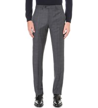 Armani Collezioni Modern Fit Crosshatch Wool Trousers Grey