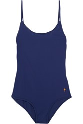 Tomas Maier Embroidered Swimsuit Blue