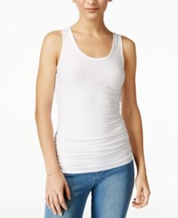 Planet Gold Juniors' Ruched Racerback Tank Top White