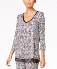 Ellen Tracy Contrast Trimmed Printed Pajama Top Black Ivory