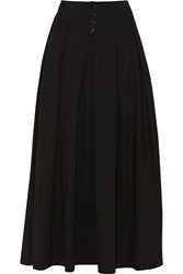 Y 3 Pleated Cotton Midi Skirt Black