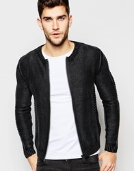 Replay Knit Cardigan Zip Front Rib Detail With Black Treatment Blue
