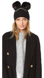 Kate Spade Cat Beanie With Faux Fur Pom Pom Black