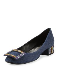 Roger Vivier Sneaky Viv Strass Denim Pump Dark Blue Multi