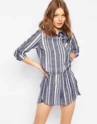 Asos Stripe Shirt Playsuit Multi