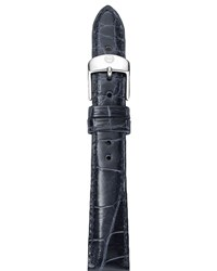 18Mm Alligator Strap Navy Michele Silver