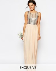 Tfnc Wedding Sequin Maxi Dress With Open Back Pink