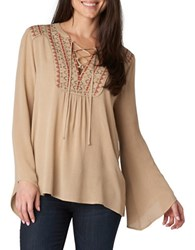 Democracy Embroidered Peasant Top Flax