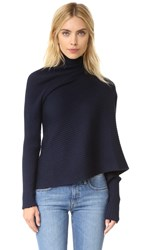 Marques Almeida Raw Edge Ribbed Sweater Navy