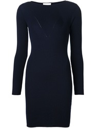 Maison Ullens Ribbed Fitted Dress Blue