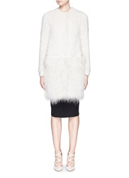 Yves Salomon Knitted Mink Fur Raccoon Panel Coat White