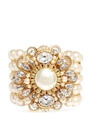 Miriam Haskell Crystal Flower Baroque Glass Pearl Bracelet White