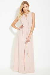 Forever 21 Contemporary Cutout Maxi Dress Light Pink