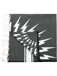 Neil Barrett Lightning Bolt Print Scarf Grey