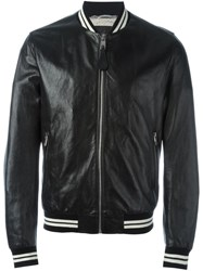 Dolce And Gabbana Striped Trim Bomber Jacket Black