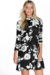Boohoo Long Sleeve High Neck Swing Dress Black