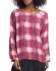 Plenty By Tracy Reese Ruby Plaid Easy Top Ruby Ombre