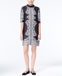 Rachel Roy Printed Shift Dress Only At Macy's Black Ivory