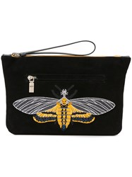 Alexander Mcqueen Skull Bee Embroidered Clutch Black