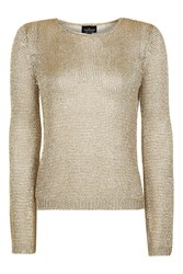 Topshop Tall Metal Yarn Jumper Gold