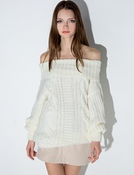 Ivory Chunky Off The Shoulder Knit
