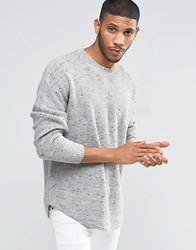 Asos Curved Hem Boxy Fit Jumper In Wool Mix Grey