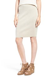 Eileen Fisher Petite Women's Knee Length Wool Crepe Knit Skirt Sea Salt