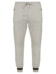 Dolce And Gabbana Crown Embroidered Track Pants Grey