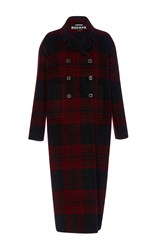 Rochas Double Breasted Checked Coat Burgundy