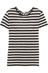 Proenza Schouler Tie Back Striped Cotton Jersey T Shirt Black